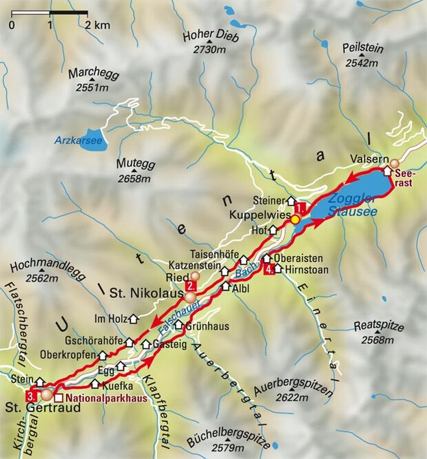 MB Ultental - Ultener Höfetrails - Karte Tour 1